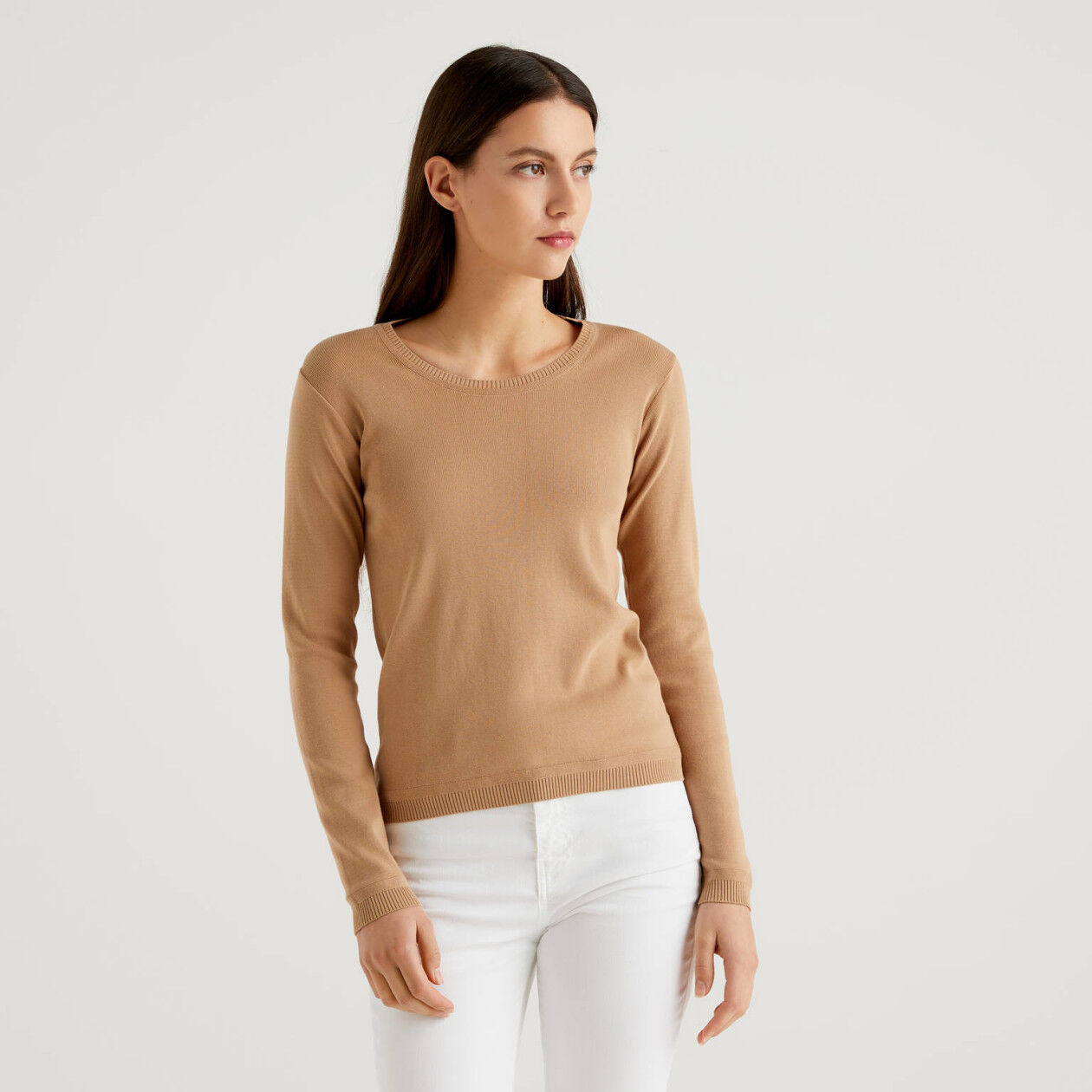 Crew neck sweater in pure cotton