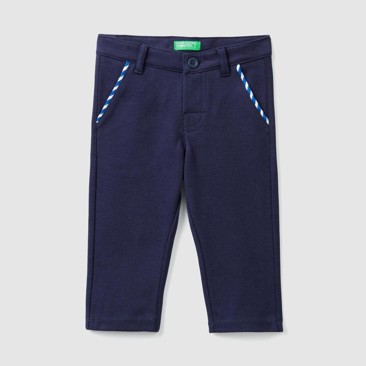 Trousers in stretch pique