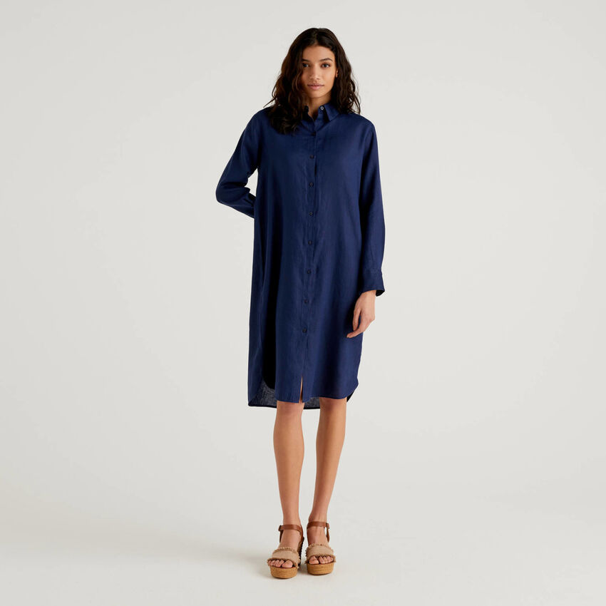Shirt dress in 100% linen