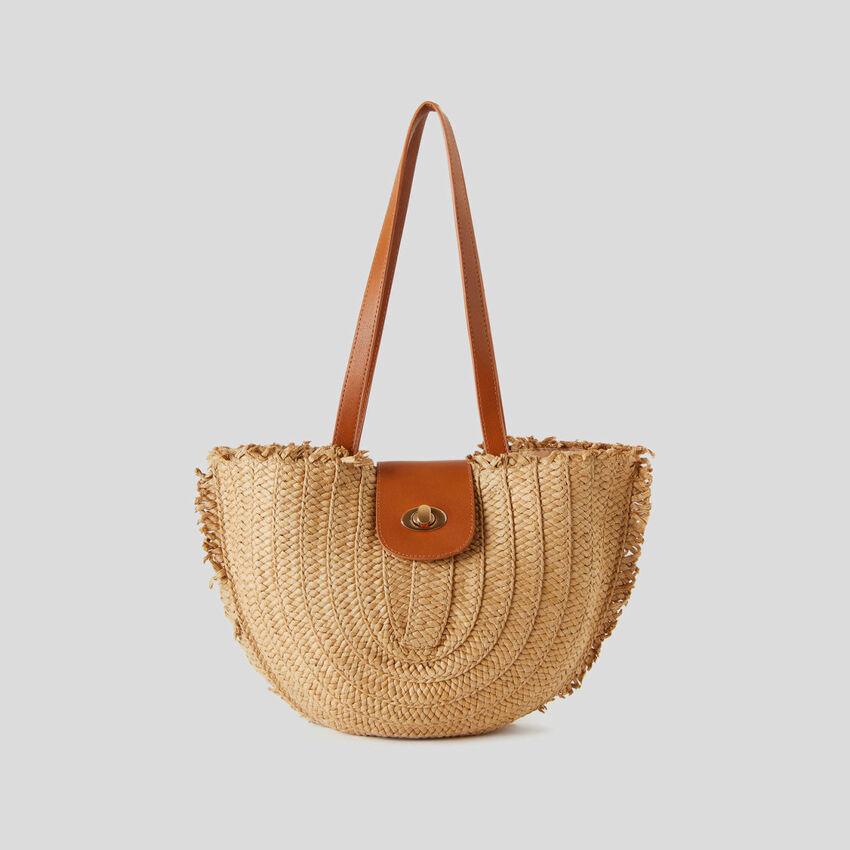 Straw-look crescent bag