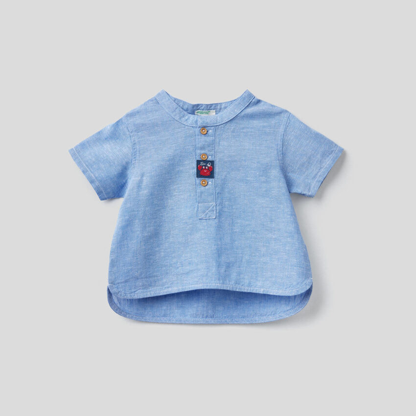 Linen blend Henley shirt