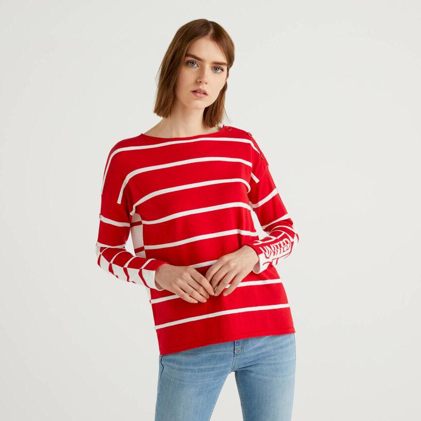 Striped 100% cotton sweater