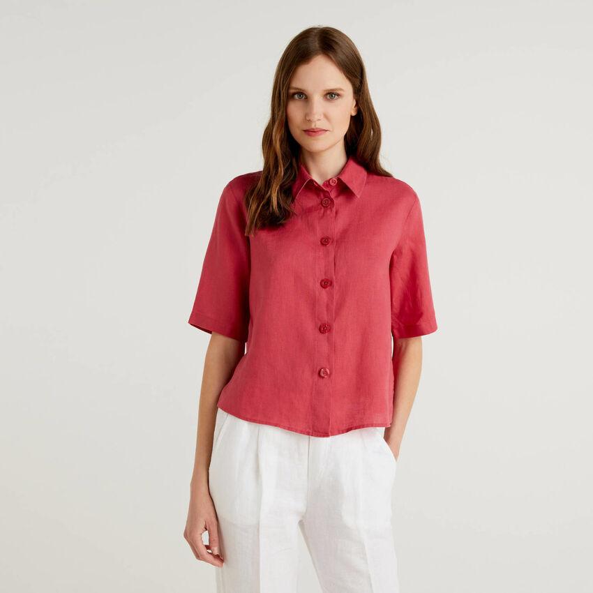 Short shirt in pure linen