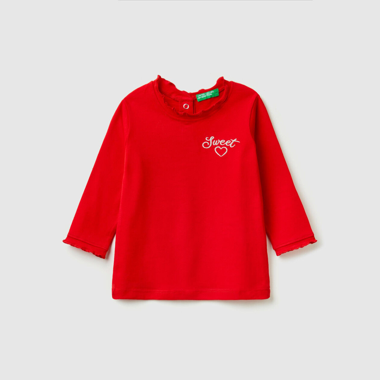 T-shirt with rouches and embroidery