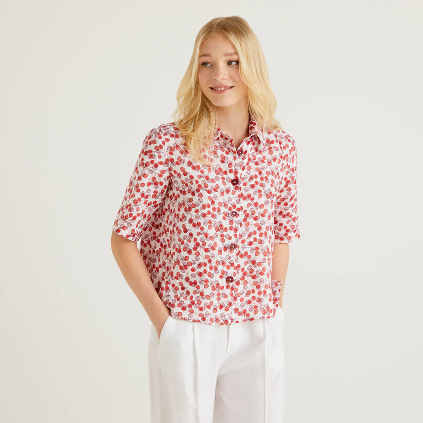 100% linen shirt with pattern print