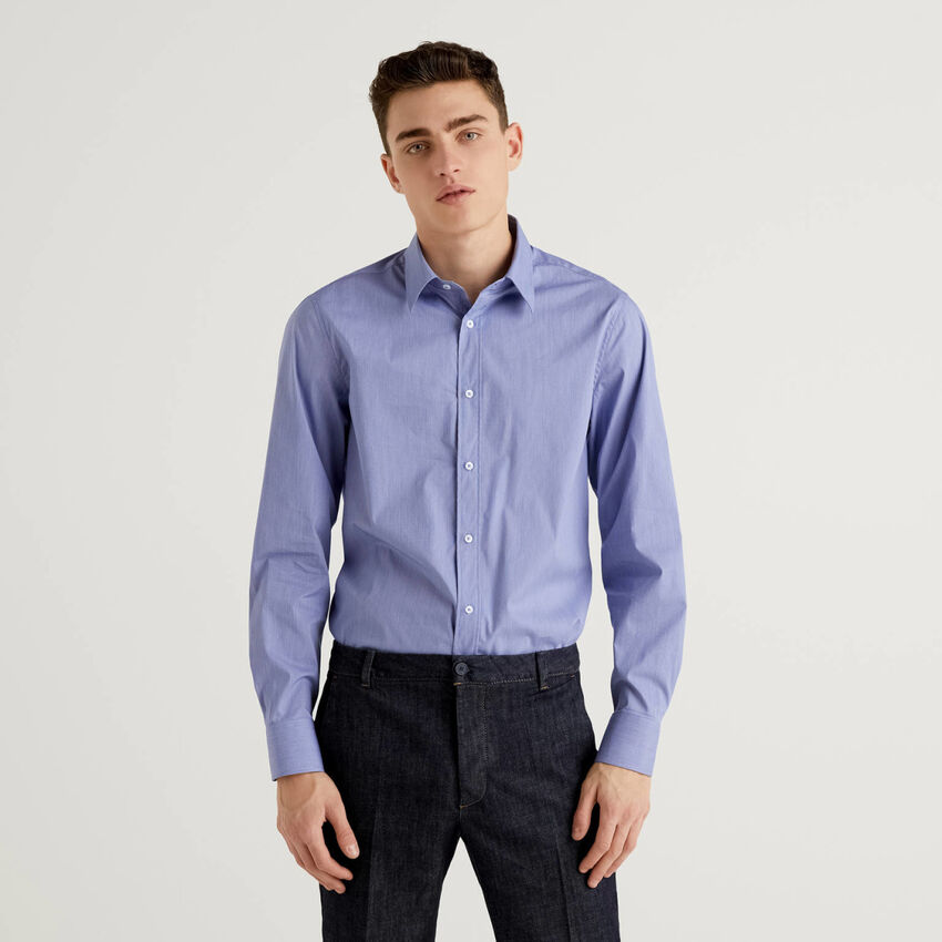 Shirt in yarn dyed stretch cotton