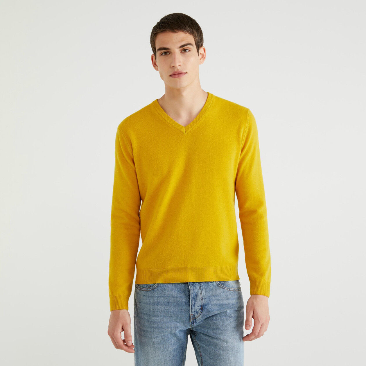 100% virgin wool V-neck sweater