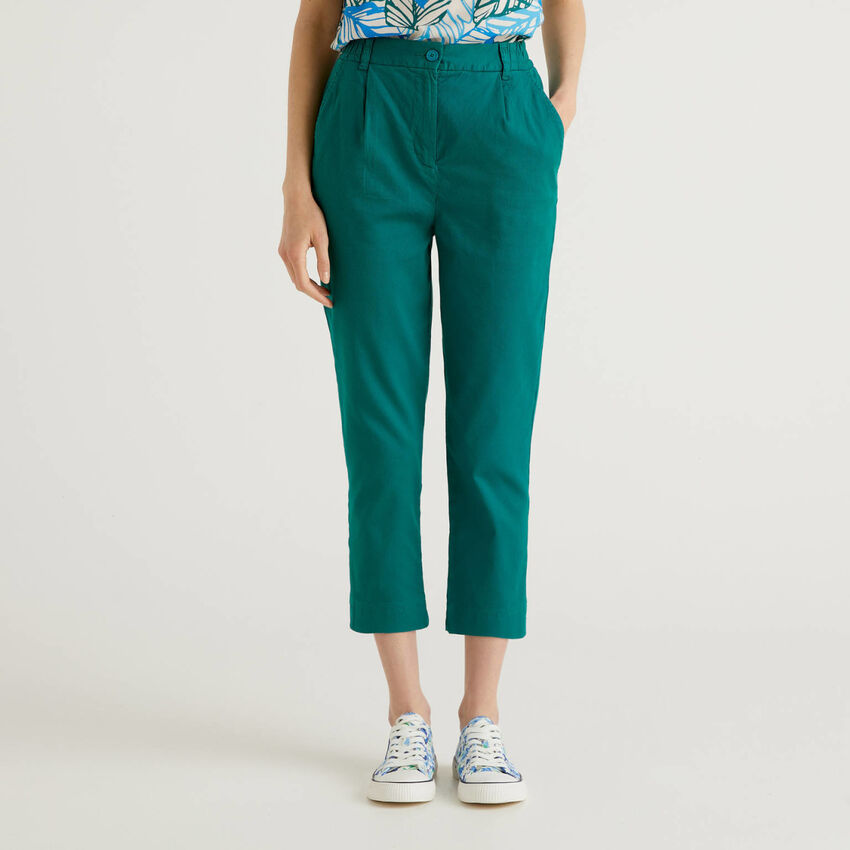Stretch cotton solid color trousers