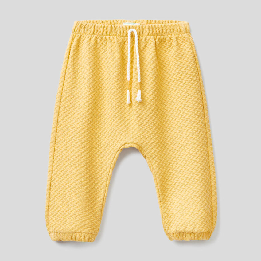 Trousers in knit stretch organic cotton