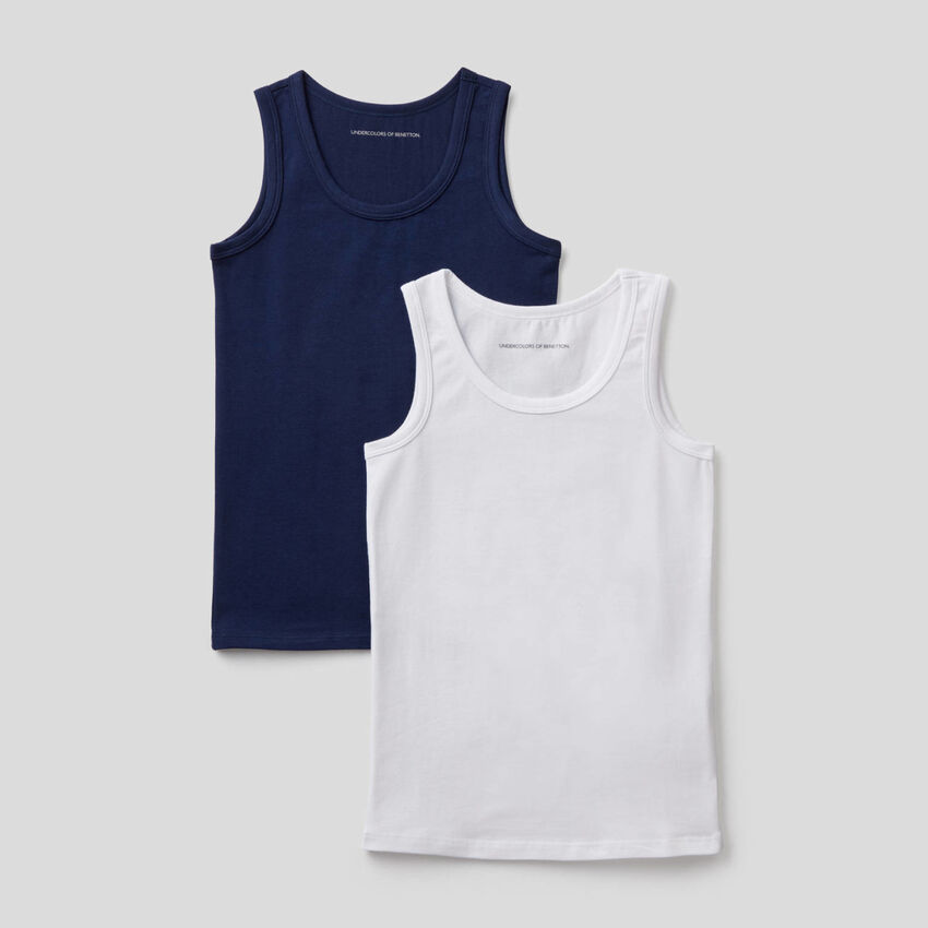 Two tank tops in stretch cotton