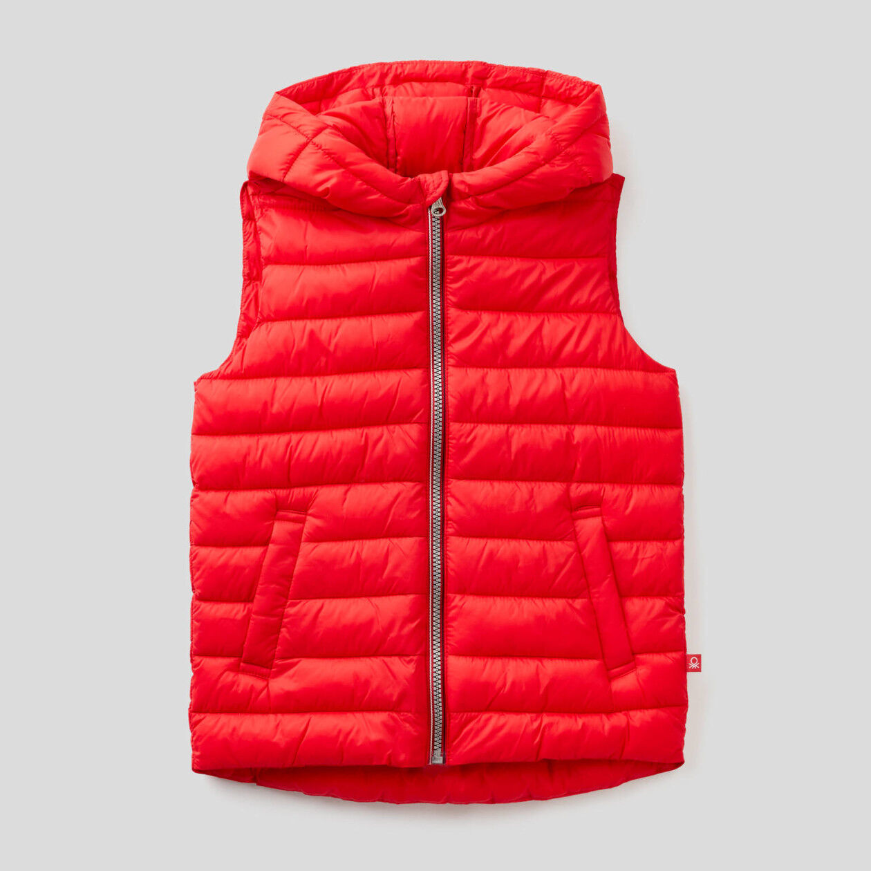 Sleeveless padded jacket with hood