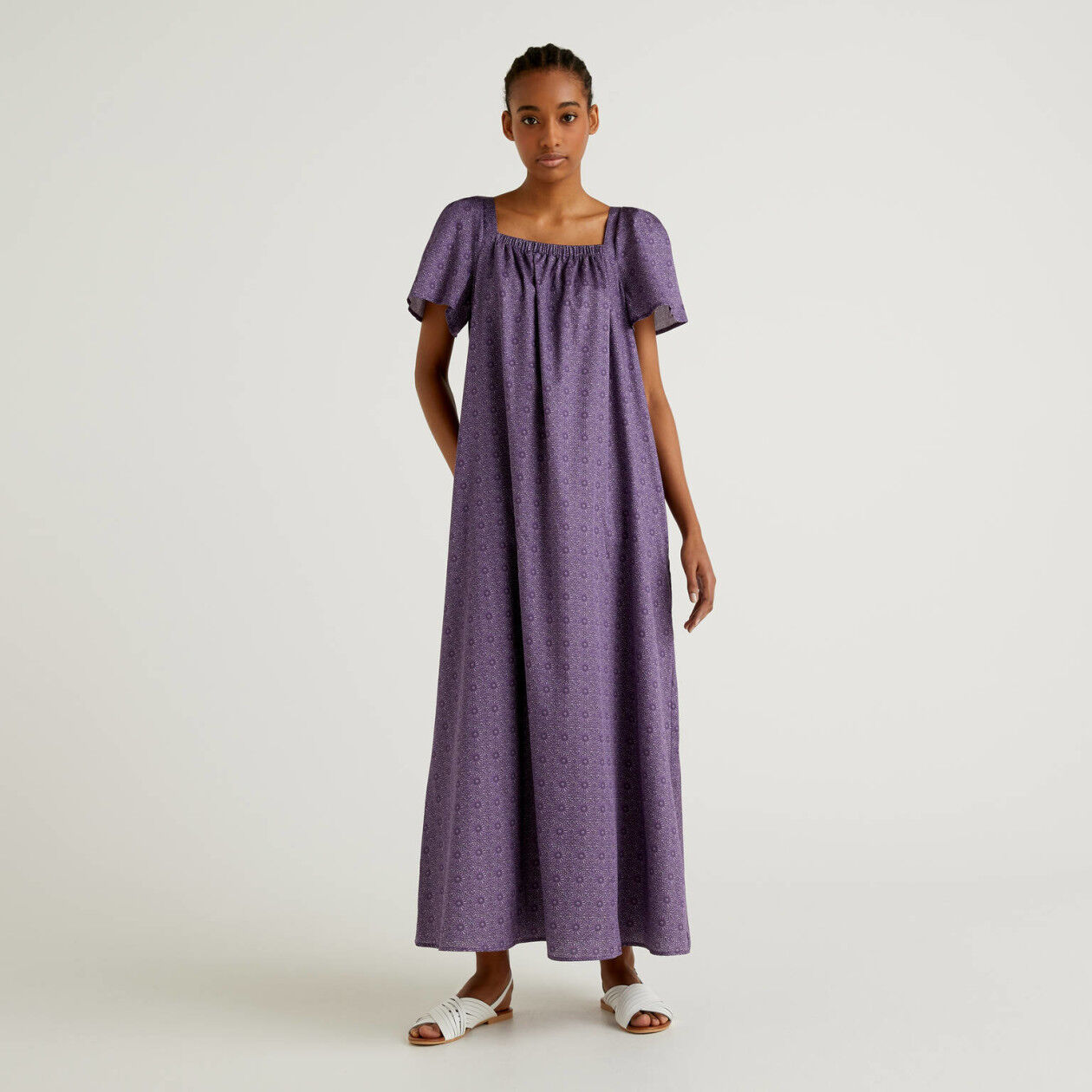 Long dress in printed cotton