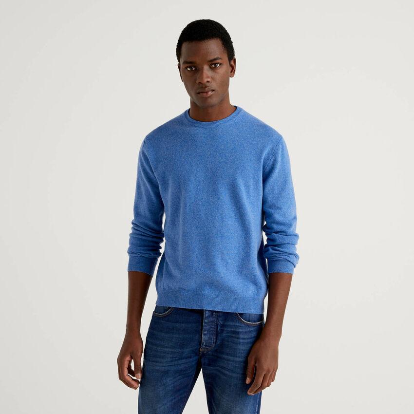 Light blue crew neck sweater in pure virgin wool