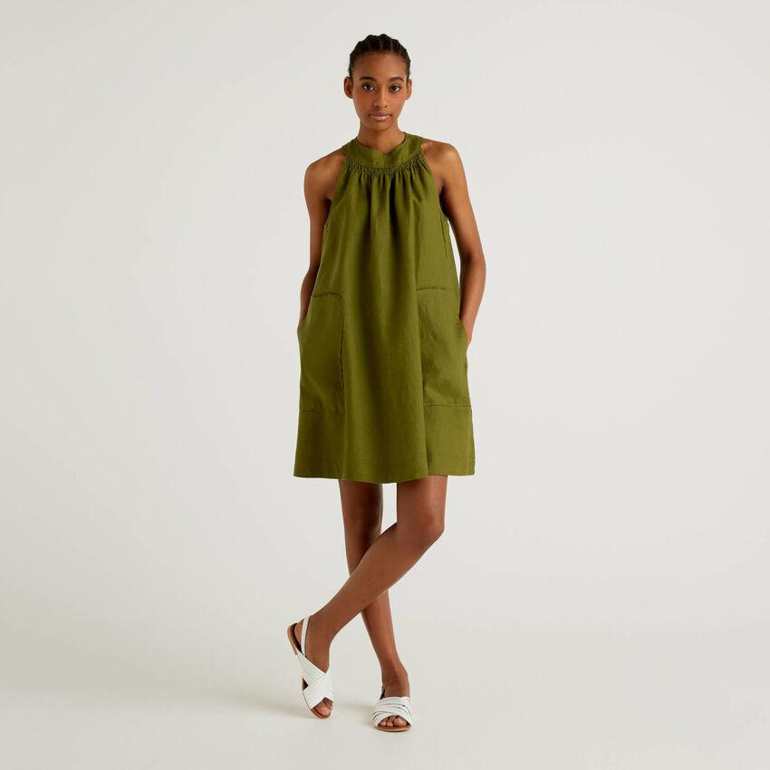 Sleeveless 100% linen dress