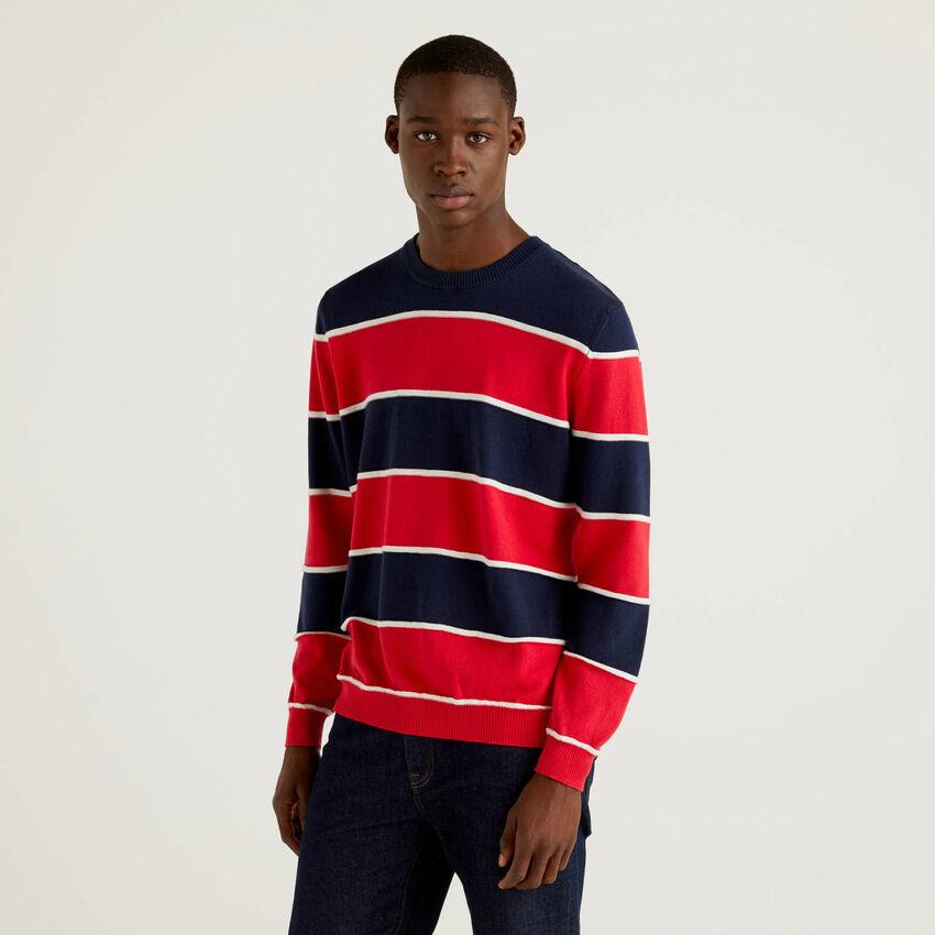 Striped sweater in warm 100% cotton