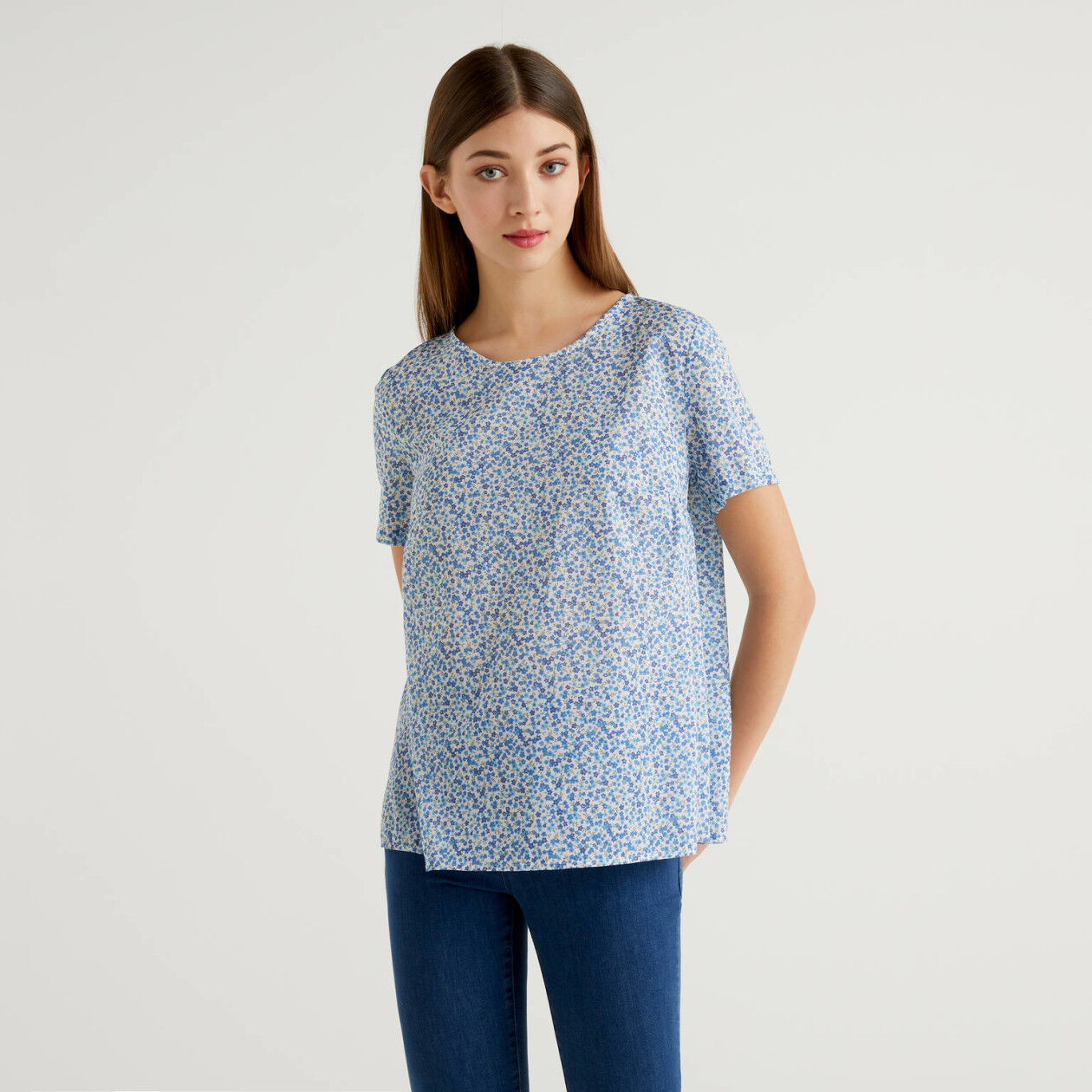 Blouse with allover print