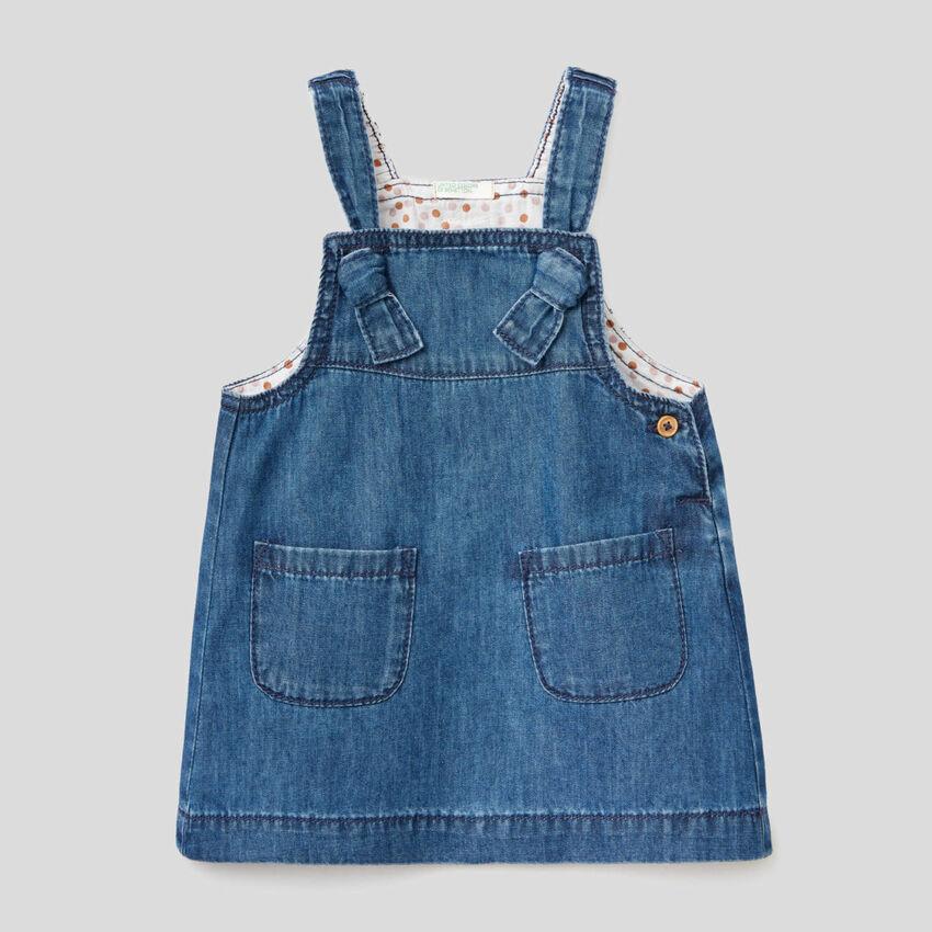 100% cotton dungaree skirt