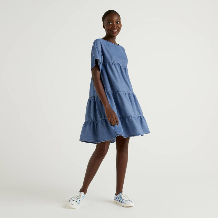 Denim look dress with frills