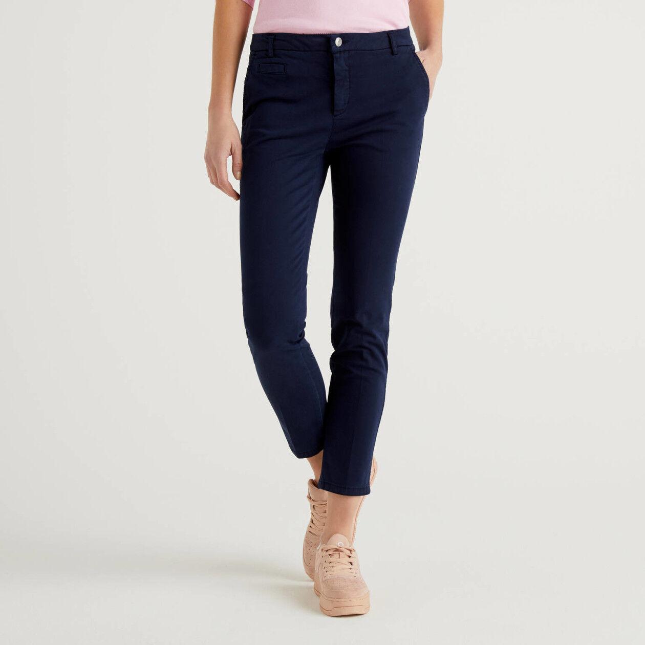 Dark blue slim fit cotton chinos