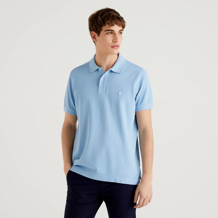 Regular fit sky blue polo