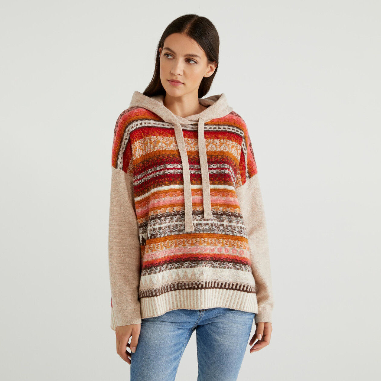 Jacquard sweater with hood