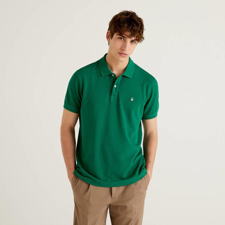 Dark green regular fit polo