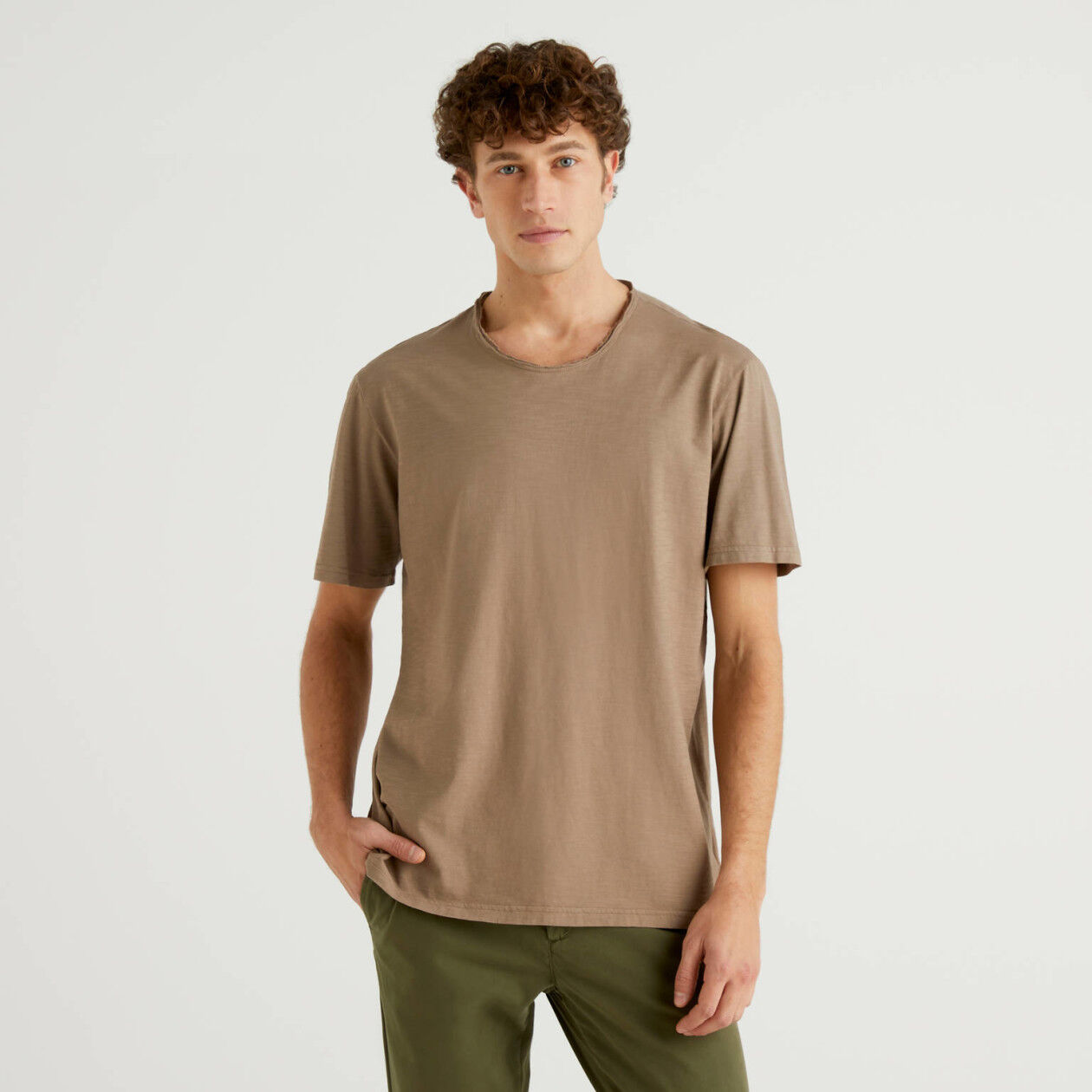 Dove gray t-shirt in pure cotton